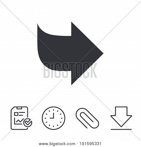 Arrow sign icon. Next button. Navigation symbol. Report, Time and Download line signs. Paper Clip linear icon. Vector