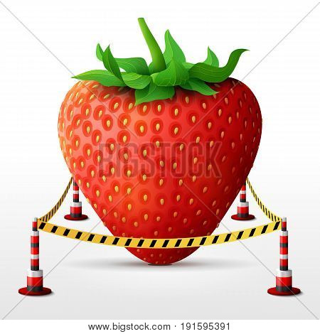 Strawberry fruit located in restricted area. Strawberry with leaves surrounded barrier tape. Best vector image about strawberry agriculture fruits cooking farming gastronomy gardening etc