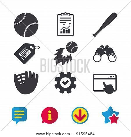 Baseball sport icons. Ball with glove and bat signs. Fireball symbol. Browser window, Report and Service signs. Binoculars, Information and Download icons. Stars and Chat. Vector