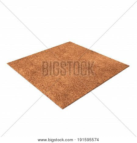 A floor brown rug isolated on a white background. 3D illustration