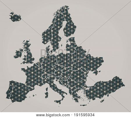 European Continent Map With Stars And Ornaments Including Country Borders