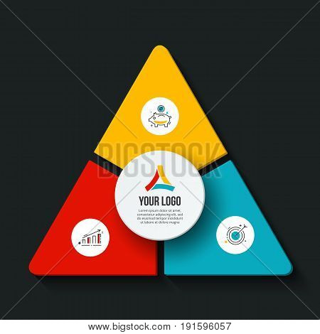 Vector dark triangle infographic. Template for cycle diagram, graph, presentation and round chart. Business concept with 3 options, parts, steps or processes. Data visualization.