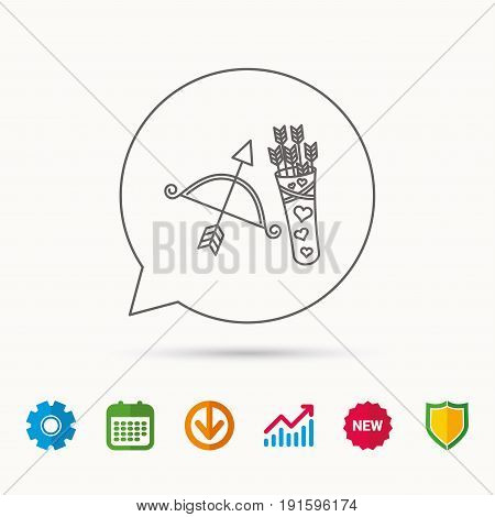 Amour arrows and bow icon. Valentine weapon sign. Calendar, Graph chart and Cogwheel signs. Download and Shield web icons. Vector