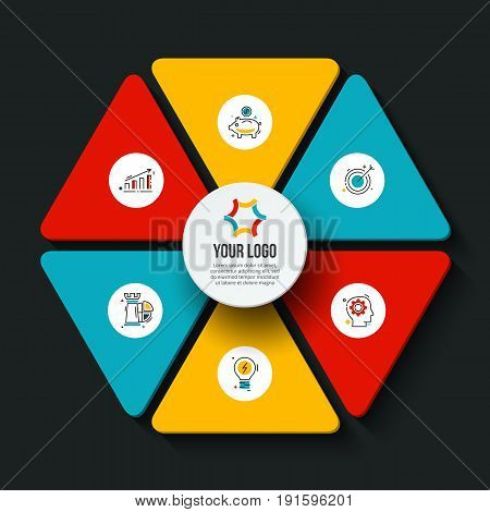 Vector dark hexagon infographic. Template for cycle diagram, graph, presentation and chart. Business concept with 6 options, parts, steps or processes. Data visualization.