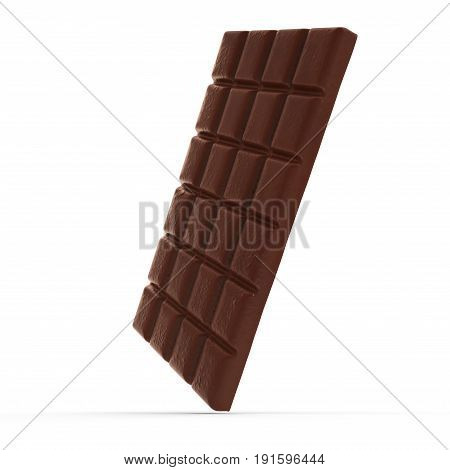 dark chocolate bar on white background. 3D illustration, clipping path
