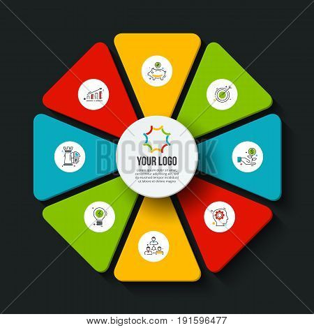Vector dark octagon infographic. Template for cycle diagram, graph, presentation and chart. Business concept with 8 options, parts, steps or processes. Data visualization.