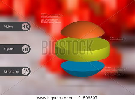 3D illustration infographic template with motif of ball horizontally divided to three standalone color sections with simple sign and sample text on side in bars. Blurred photo is used as background.