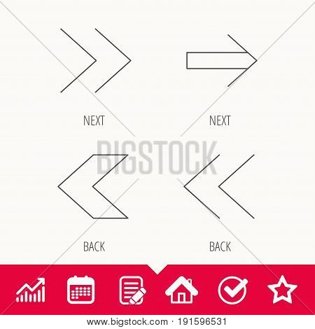 Arrows icons. Left, right direction linear signs. Next, back arrows flat line icons. Edit document, Calendar and Graph chart signs. Star, Check and House web icons. Vector