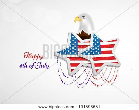 illustration of stars in U.S.A flag background and Eagle with Happy 4th of July text on the occasion of USA Independence day