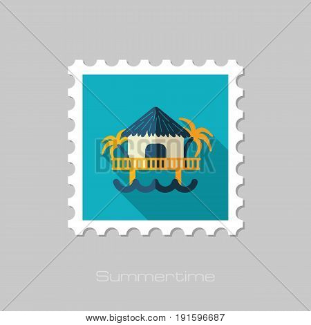 Bungalow with palm trees vector stamp. Beach. Summer. Summertime. Holiday. Vacation eps 10