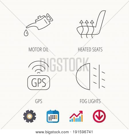 Motor oil, passing fog lights and gps icons. Heated seats linear sign. Calendar, Graph chart and Cogwheel signs. Download colored web icon. Vector