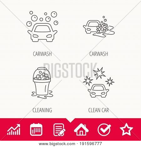 Car wash icons. Automatic cleaning station linear signs. Wet cleaning and foam bucket flat line icons. Edit document, Calendar and Graph chart signs. Star, Check and House web icons. Vector