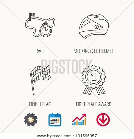 Race flag, motorcycle helmet and award medal icons. Start or finish flag linear sign. Calendar, Graph chart and Cogwheel signs. Download colored web icon. Vector