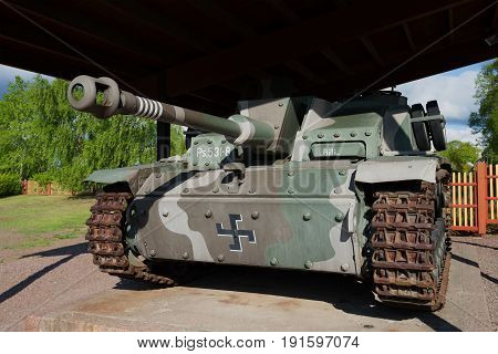 HAMINA, FINLAND - JUNE 03, 2017: Stug III Ausf G (Ps.531-8) - German self-propelled artillery during the Second world war closeup