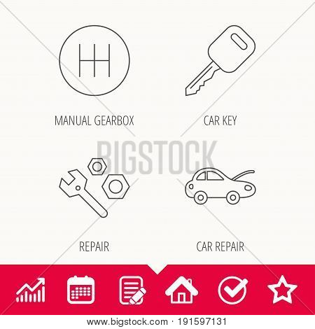 Car key, repair tools and manual gearbox icons. Car repair, transmission linear signs. Edit document, Calendar and Graph chart signs. Star, Check and House web icons. Vector