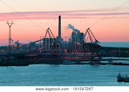 KOTKA, FINLAND - JUNE 04, 2017: Pulp and paper mill