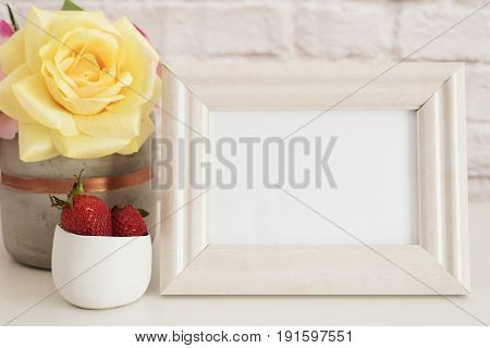 Frame Mockup. White Frame Mock Up. Cream Picture Frame, Vase With Pink Roses, Strawberries In Gold B