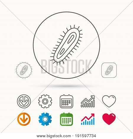 Bacteria icon. Medicine infection symbol. Bacterium or microbe sign. Calendar, Graph chart and Cogwheel signs. Download and Heart love linear web icons. Vector