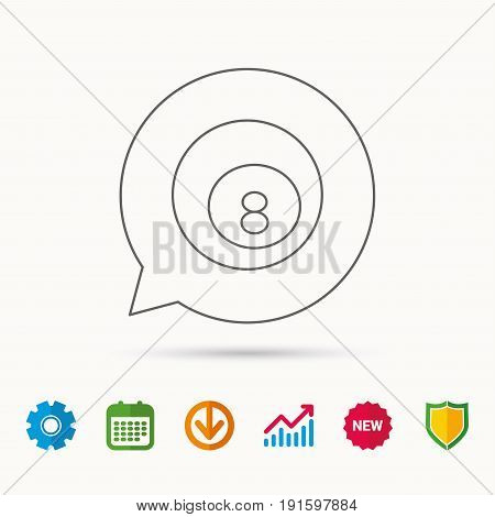 Billiard ball icon. Pool or snooker equipment sign. Cue sports symbol. Calendar, Graph chart and Cogwheel signs. Download and Shield web icons. Vector