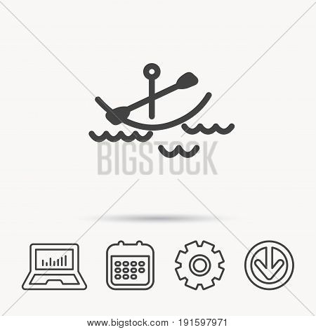 Kayaking on waves icon. Boating or rafting sign. Canoeing extreme sport symbol. Notebook, Calendar and Cogwheel signs. Download arrow web icon. Vector