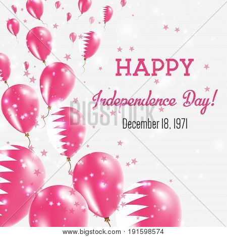 Qatar Independence Day Greeting Card. Flying Balloons In Qatar National Colors. Happy Independence D