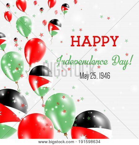 Jordan Independence Day Greeting Card. Flying Balloons In Jordan National Colors. Happy Independence