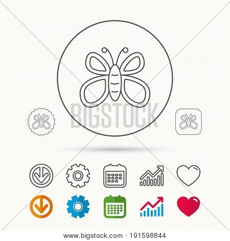 Butterfly icon. Flying lepidoptera sign. Dreaming symbol. Calendar, Graph chart and Cogwheel signs. Download and Heart love linear web icons. Vector