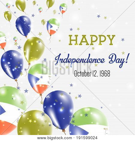 Equatorial Guinea Independence Day Greeting Card. Flying Balloons In Equatorial Guinea National Colo