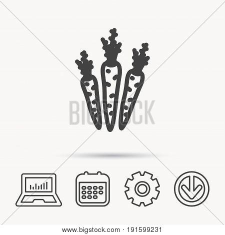 Carrots icon. Vegetarian food sign. Natural vegetables symbol. Notebook, Calendar and Cogwheel signs. Download arrow web icon. Vector