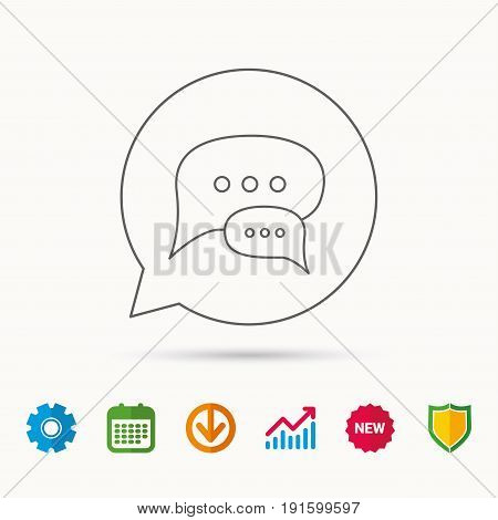 Chat icon. Comment message sign. Dialog speech bubble symbol. Calendar, Graph chart and Cogwheel signs. Download and Shield web icons. Vector