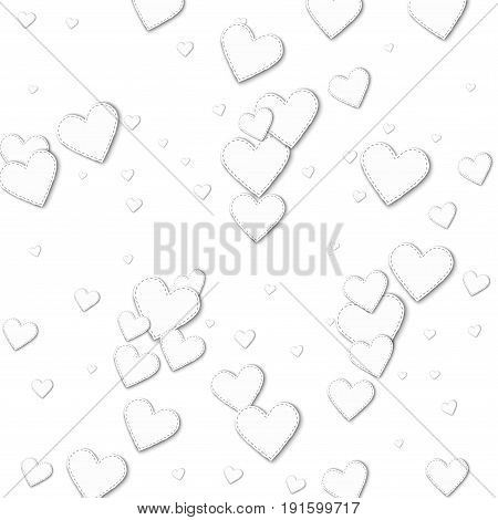 Cutout White Paper Hearts. Scatter Horizontal Lines With Cutout White Paper Hearts On White Backgrou