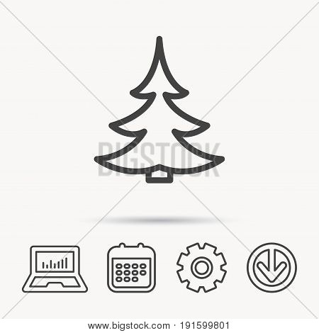 Christmas fir tree icon. Spruce sign. Winter forest symbol. Notebook, Calendar and Cogwheel signs. Download arrow web icon. Vector