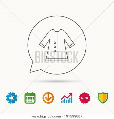 Cloak icon. Protection jacket outerwear sign. Gardening clothes symbol. Calendar, Graph chart and Cogwheel signs. Download and Shield web icons. Vector