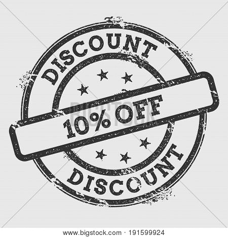 Discount 10% Off Rubber Stamp Isolated On White Background. Grunge Round Seal With Text, Ink Texture