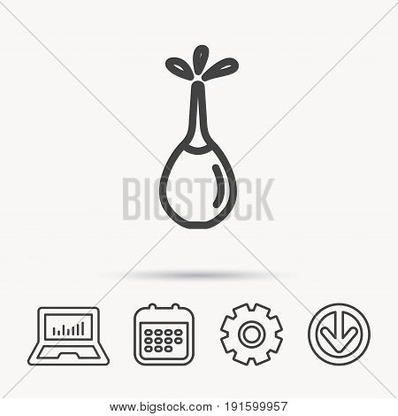 Medical clyster icon. Enema with water drops sign. Notebook, Calendar and Cogwheel signs. Download arrow web icon. Vector