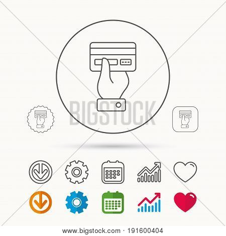 Credit card icon. Giving hand sign. Cashless paying or buying symbol. Calendar, Graph chart and Cogwheel signs. Download and Heart love linear web icons. Vector