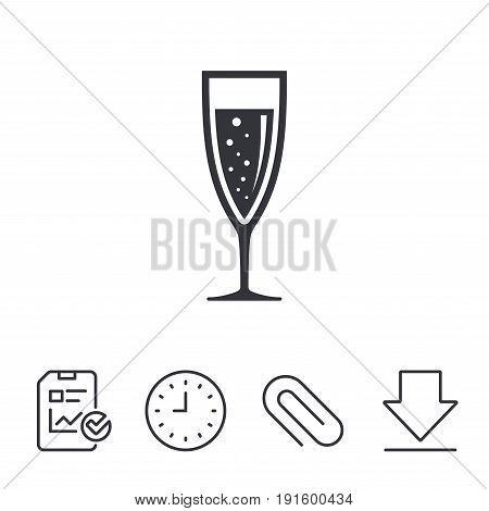 Glass of champagne sign icon. Sparkling wine with bubbles. Celebration or banquet alcohol drink symbol. Report, Time and Download line signs. Paper Clip linear icon. Vector