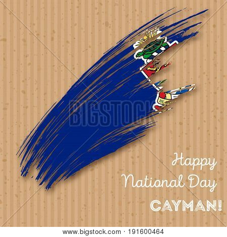 Cayman Independence Day Patriotic Design. Expressive Brush Stroke In National Flag Colors On Kraft P