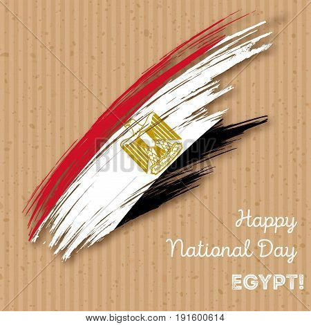 Egypt Independence Day Patriotic Design. Expressive Brush Stroke In National Flag Colors On Kraft Pa