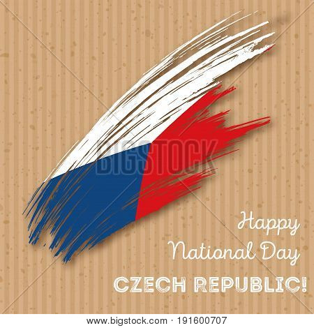 Czech Republic Independence Day Patriotic Design. Expressive Brush Stroke In National Flag Colors On