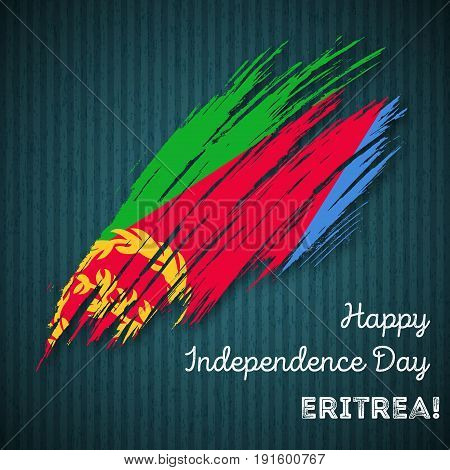 Eritrea Independence Day Patriotic Design. Expressive Brush Stroke In National Flag Colors On Dark S