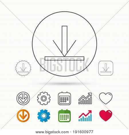 Download icon. Down arrow sign. Internet load symbol. Calendar, Graph chart and Cogwheel signs. Download and Heart love linear web icons. Vector