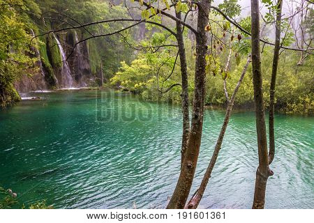 Plitvice lake natural water green landscape, Croatia