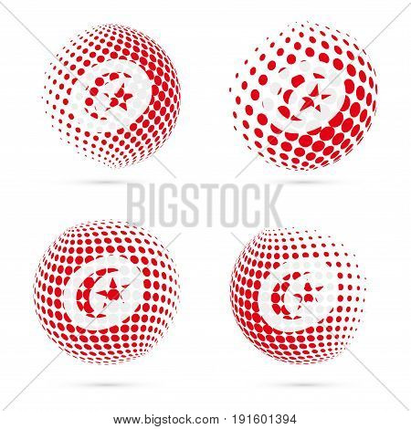 Tunisia Halftone Flag Set Patriotic Vector Design. 3D Halftone Sphere In Tunisia National Flag Color