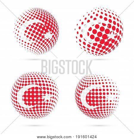 Turkey Halftone Flag Set Patriotic Vector Design. 3D Halftone Sphere In Turkey National Flag Colors