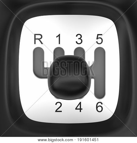 Top view on manual gearshift (3D rendering)