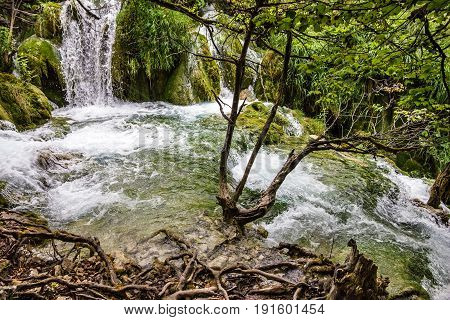 Croatia. Waterfall of Plitvice lake natural landscape.
