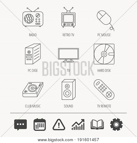 Sound, club music and retro radio icons. PC mouse and case, hard disk linear signs. TV remote icons. Education book, Graph chart and Chat signs. Attention, Calendar and Cogwheel web icons. Vector