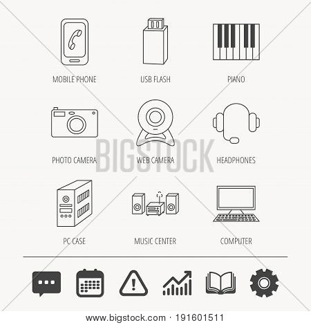 Photo camera, headphones and Usb flash icons. PC case, computer with monitor and web camera linear signs. Piano icons. Education book, Graph chart and Chat signs. Vector