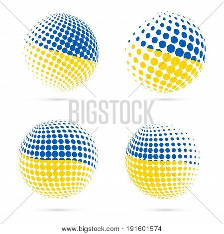 Ukraine Halftone Flag Set Patriotic Vector Design. 3D Halftone Sphere In Ukraine National Flag Color
